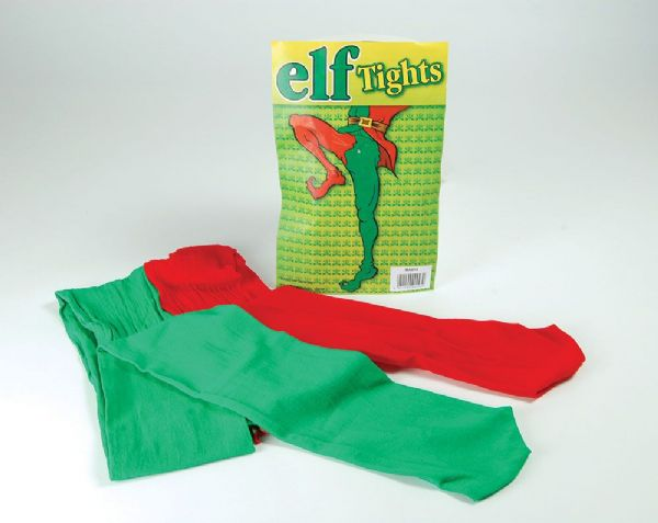 Elf Tights Green/Red Festive Dwarf Christmas Helper Fancy Dress